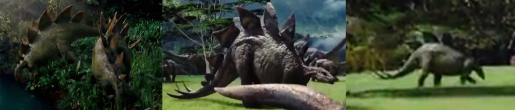 Stegosaurus from the original Jurassic world trailer (left) and one of the more recent TV spots (center and right)