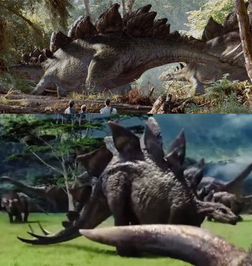 Stegosaurus in The Lost World: Jurassic Park (top) and in Jurassic World (bottom).